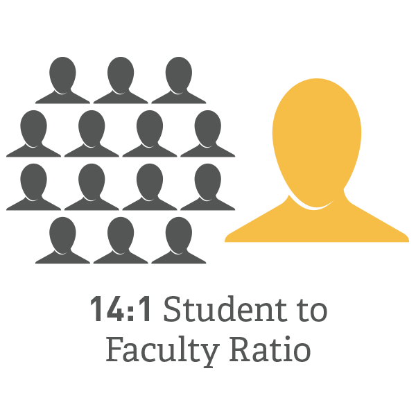 14 to 1 Student to Faculty Ratio Graphic