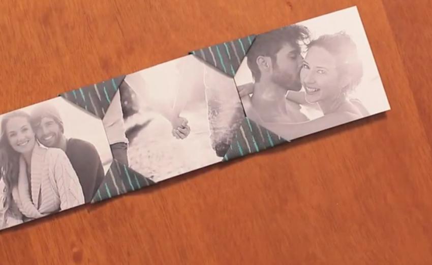 Técnica de origami em tecido transforma esse porta-retrato, que serve para guardar boas lembranças
