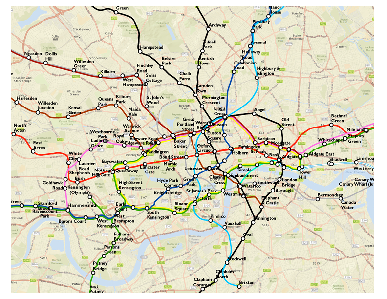 geographically-accurate London tube map
