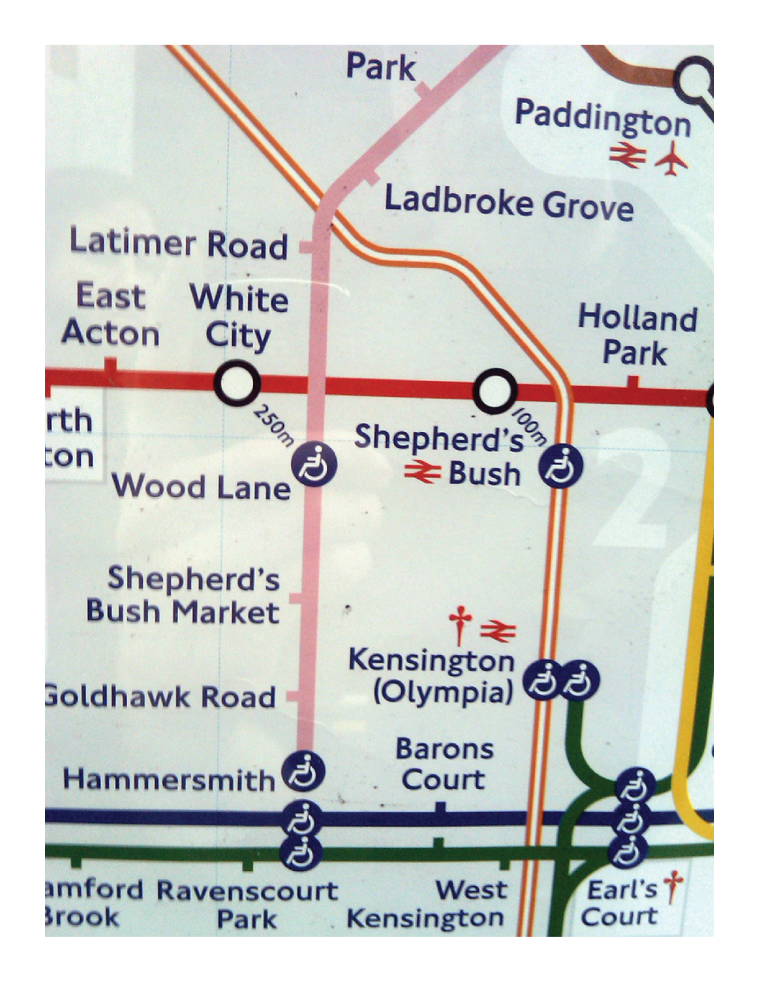 London tube 2008 distance markers