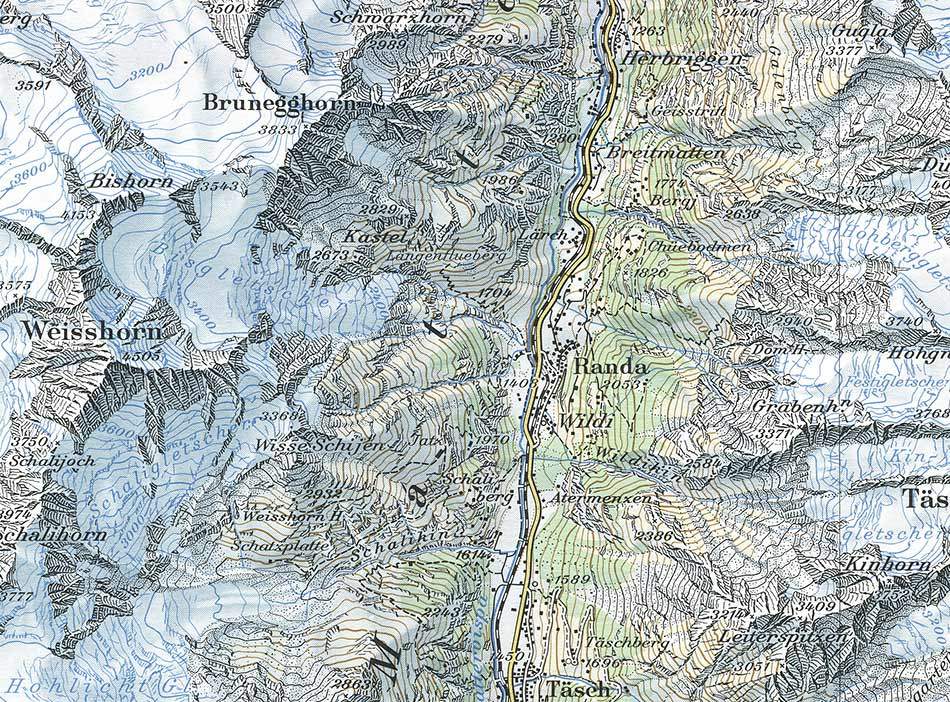 Swiss  mountain map