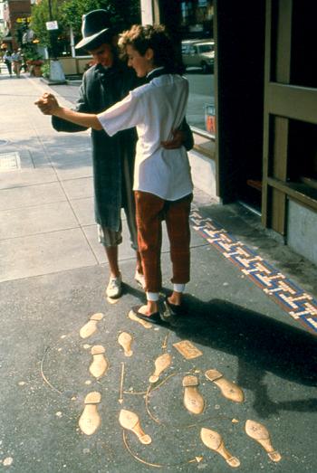 dance instructions in Seattle sidewalk