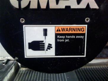 water jet warning