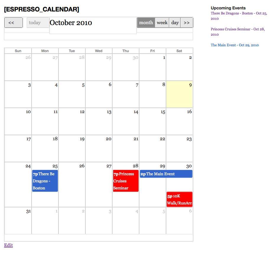 Event Espresso Calendar