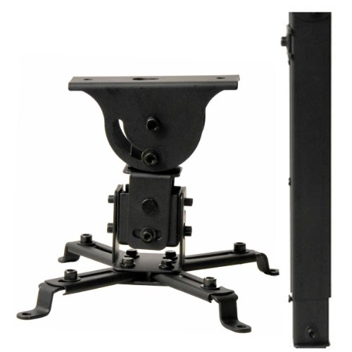 Projector Vaulted Ceiling Mount Bracket with 22.4-Inch Extension Pole - Black