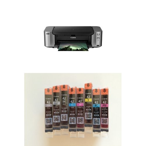 Canon PIXMA PRO-100 Color Professional Inkjet Photo Printer and CanonInk CLI-42 8 PK Value Pack Ink
