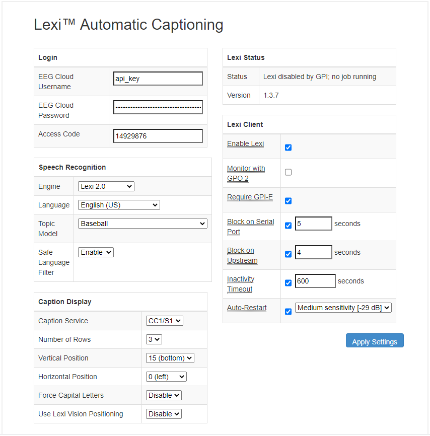 Lexi web interface screenshot