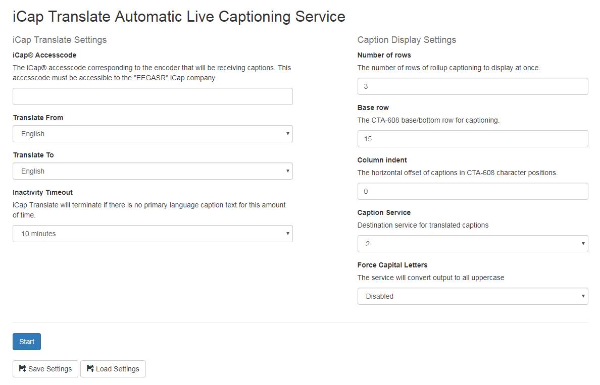 iCap Translate interface screenshot