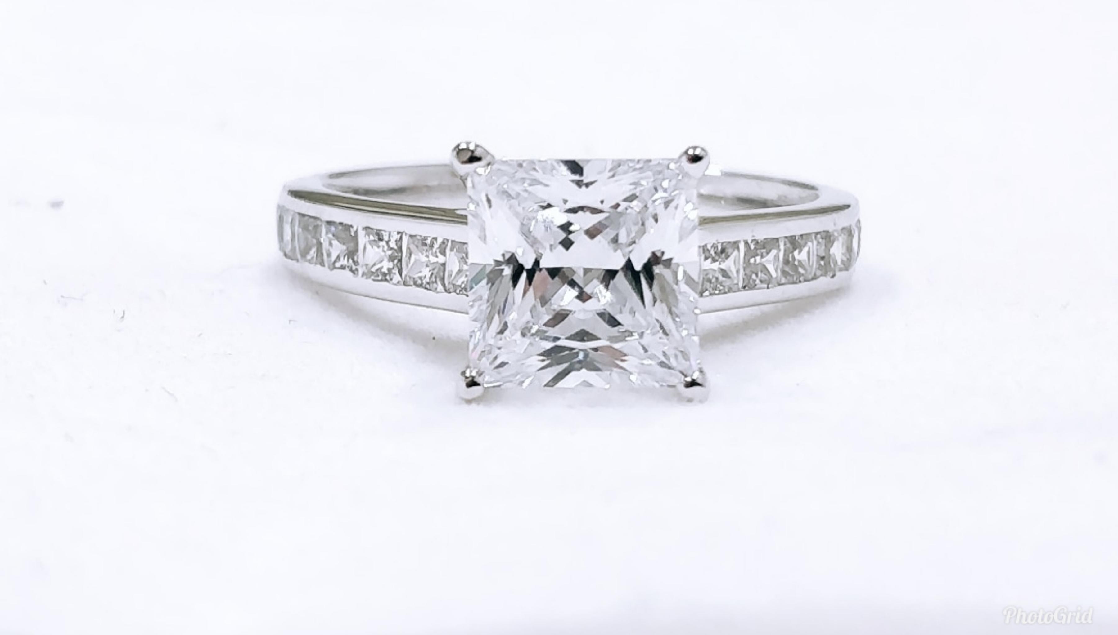 Brilliant Princess Cut Diamond 2 5ct Solitaire Ring Real