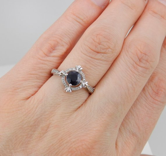 14K White gold Over 1.50 Ct Round Cut bluee Sapphire Halo Engagement,Wedding Ring
