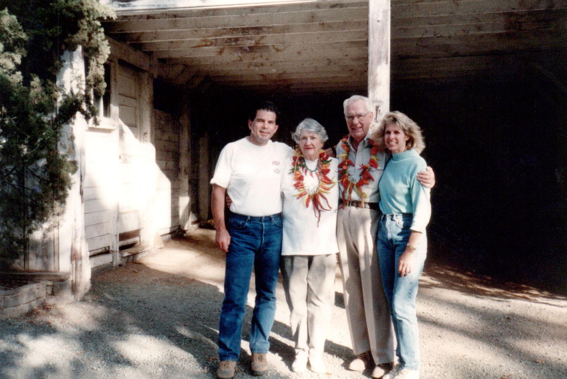 Daphne and Bart Araujo with Barbara and Milt Eisele after arriving permanently in Napa Valley. (1992)