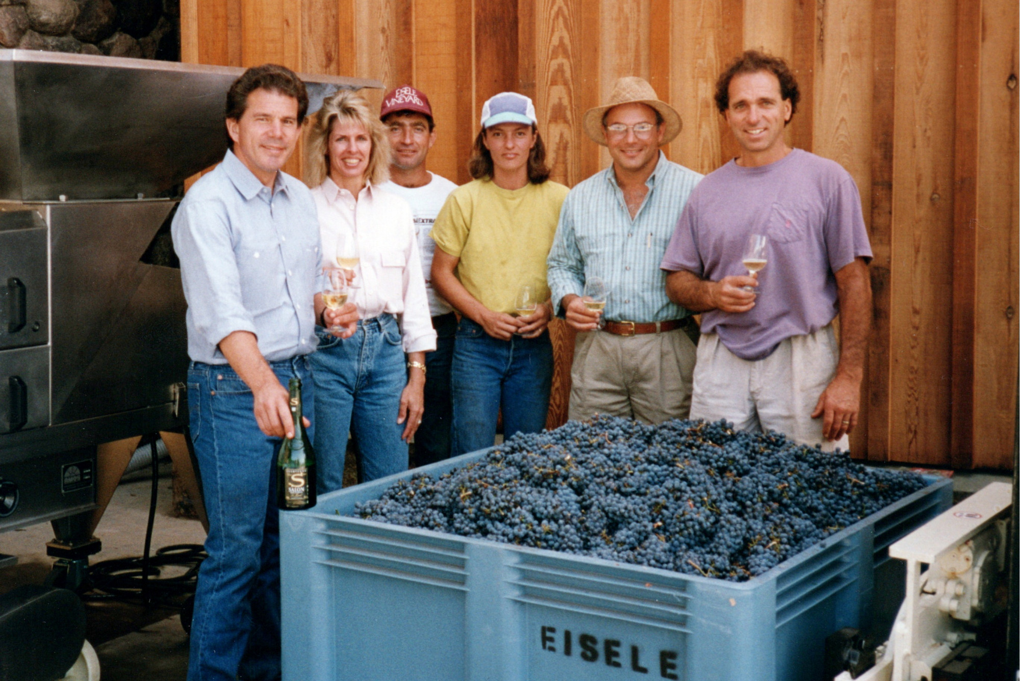 First crush at the new Araujo Estate winery in 1992 with Bart, Daphne, Aruro Llamas (cellar master, Mia Klein and Tony Soter (consulting winemakers) and David Abreu (vineyard manager)