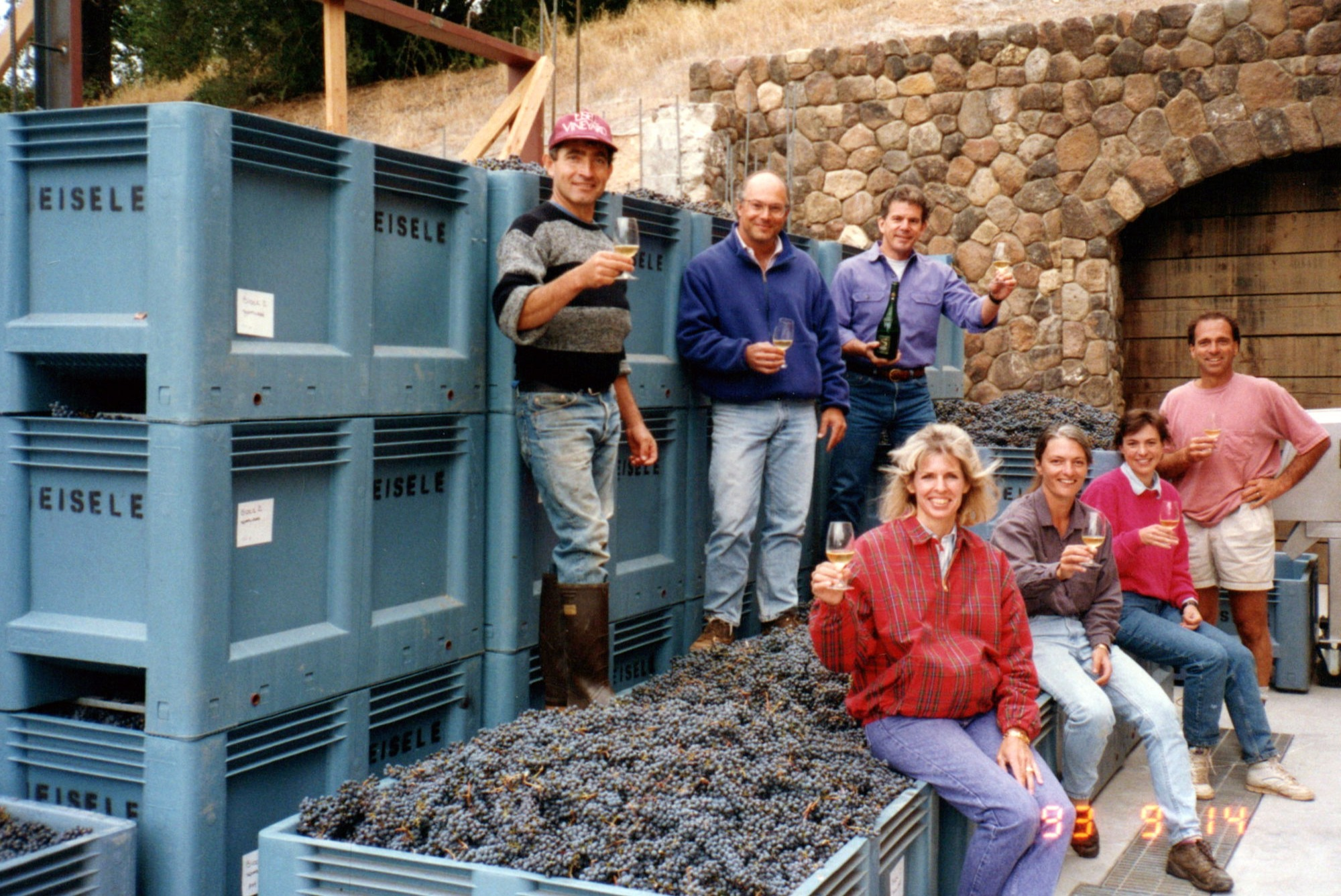 A Champagne toast to Araujo Estate Wines' third Cabernet harvest with the team. (1993)
