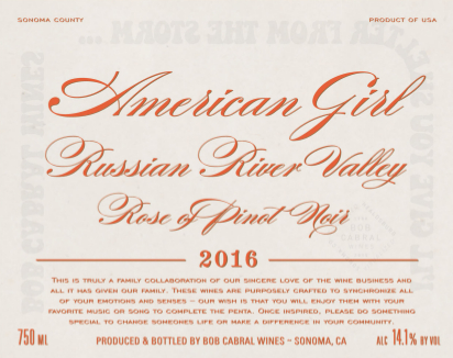 American Girl 2016 Rosé of Pinot Noir - Bob Cabral Wines