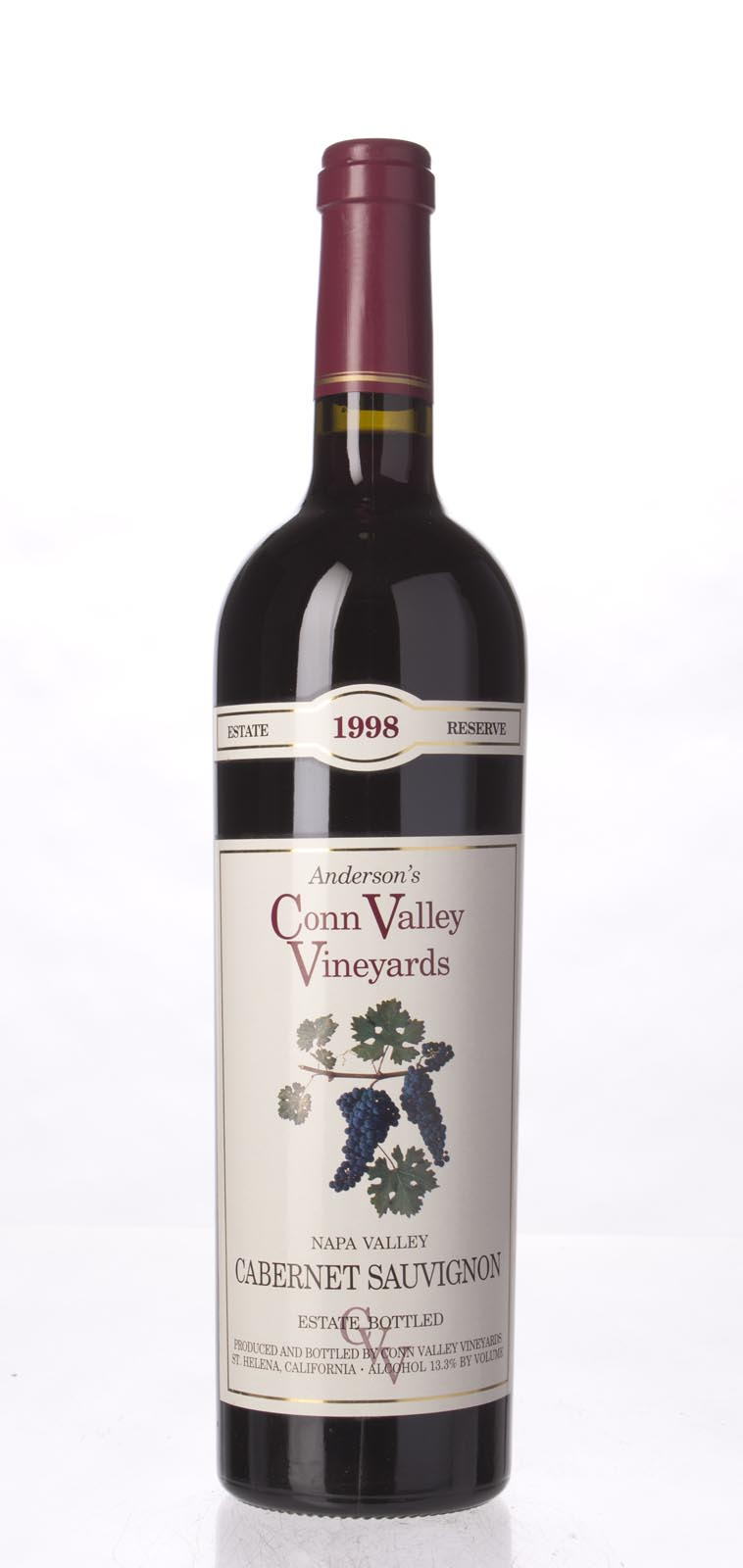 Anderson`s Conn Valley Cabernet Sauvignon Estate Reserve 1998, 750mL () from The BPW - Merchants of rare and fine wines.