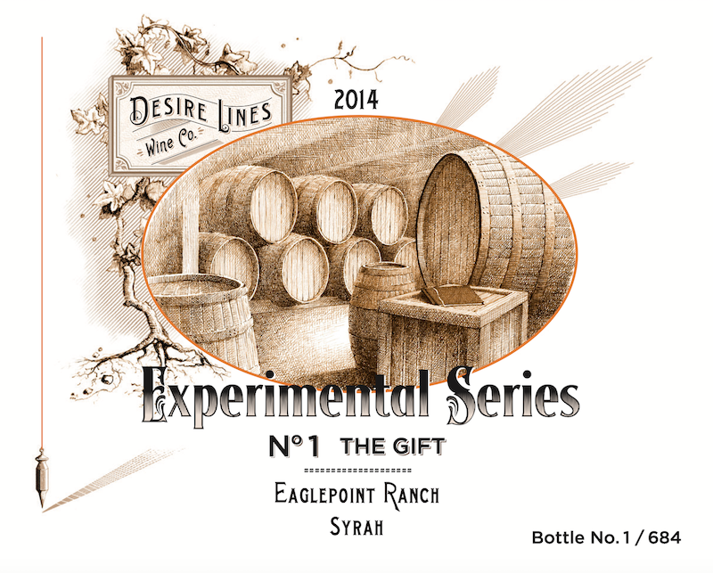 2014 Desire Lines Experimental Series #1: 'The Gift' Syrah Eaglepoint Ranch Syrah, Mendocino - Desire Lines Wine Co.