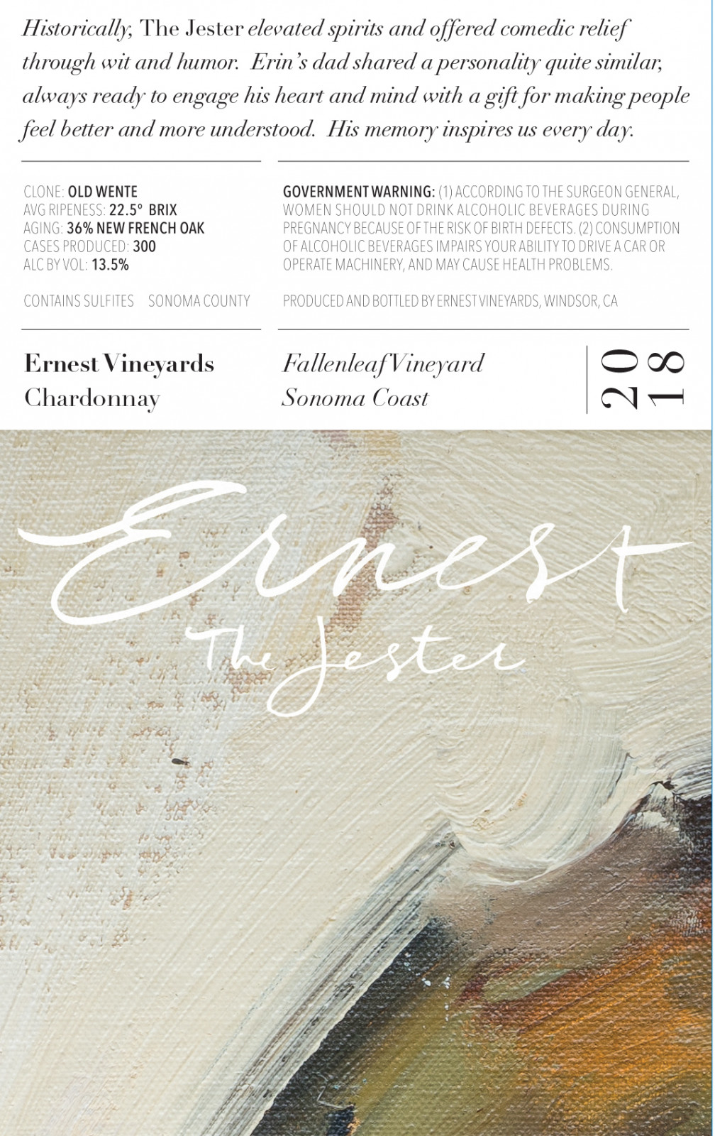 Fallenleaf Vineyard Chardonnay 2018 The Jester - Ernest Vineyards