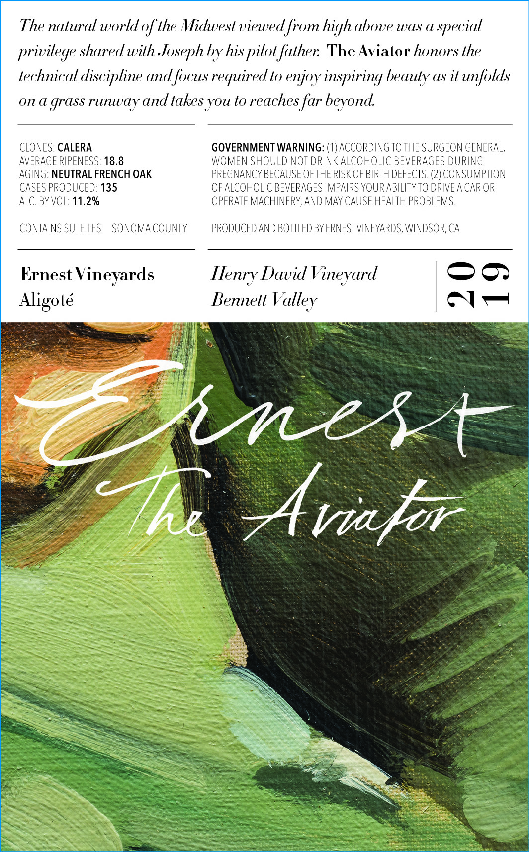 Henry David Vineyard Aligoté 2019 The Aviator - Ernest Vineyards