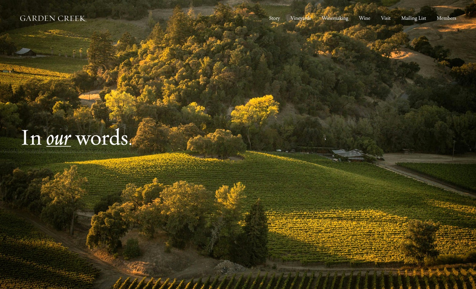 Garden Creek Vineyards Website