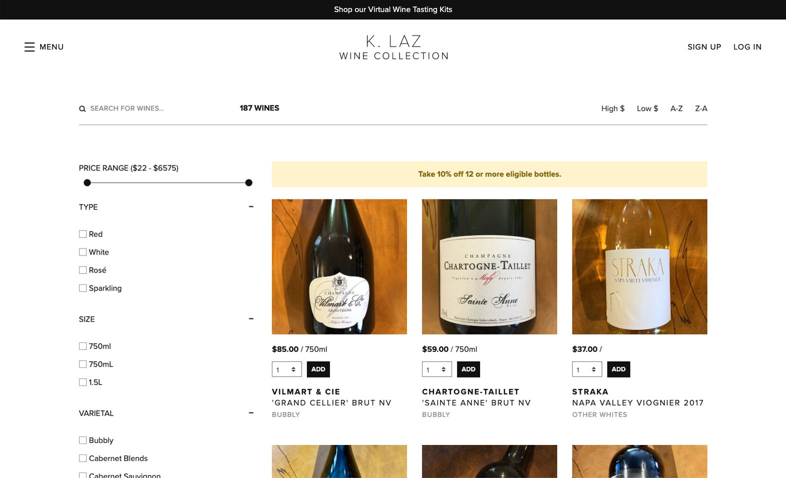 K. Laz Wine Collection Website