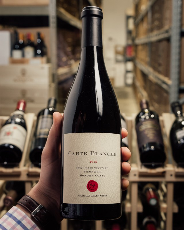 Carte Blanche Pinot Noir Nobles Sun Chase Vineyard 2015  - First Bottle