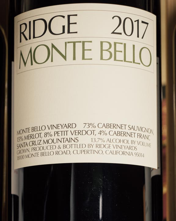 Ridge Monte Bello Santa Cruz Mountains 2017 (Double Magnum 3L)