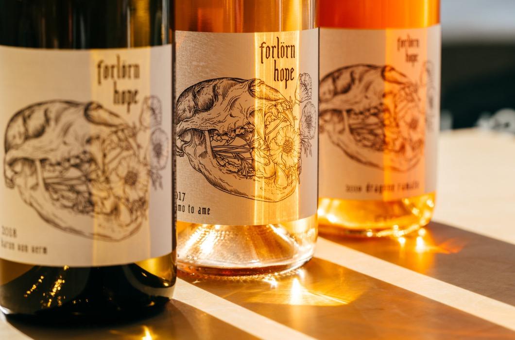 Wine bottle line up of Forlorn Hope wines.