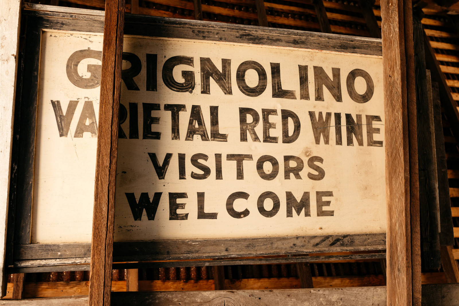 Original sign from our first winery on Highway 29, where Grignolino was planted and made.