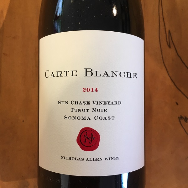 Carte Blanche 'Sun Chase Vineyard' Pinot Noir 2014  Sonoma Coast - K. Laz Wine Collection