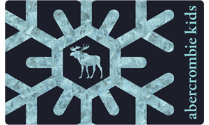 Gift card with navy background and large light blue snowflake, with the words abercrombie kids in light blue on the side.