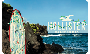 Gift card with a scenic ocean nearby rocky cliffs. Includes a surfboard covered in multi-colored string lights on the left & a white Hollister California seagull logo wrapped in multi-colored string lights on the right.