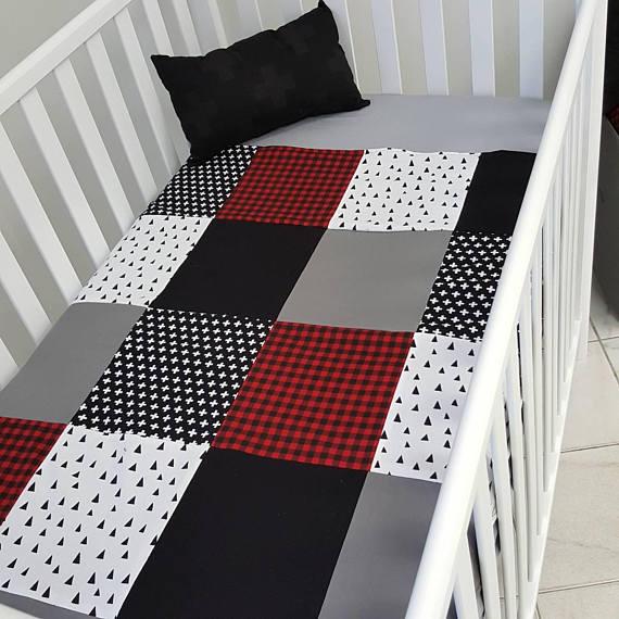 CreationsMaLiBiZ - Couverture doudou pour bébés - carreau rouge - lumberjack
