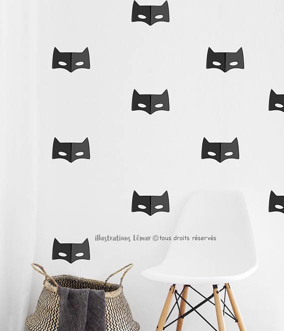 IllustrationsLemur - Décalques muraux MASQUES super HÉRO 5 pouces, REPOSITIONNABLES, Autocollant Batman, Décoration murale-Appliqués muraux-déco chambre-vinyle