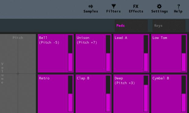 Sampler in drumpad mode