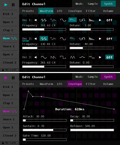 Sequencer Screenshots