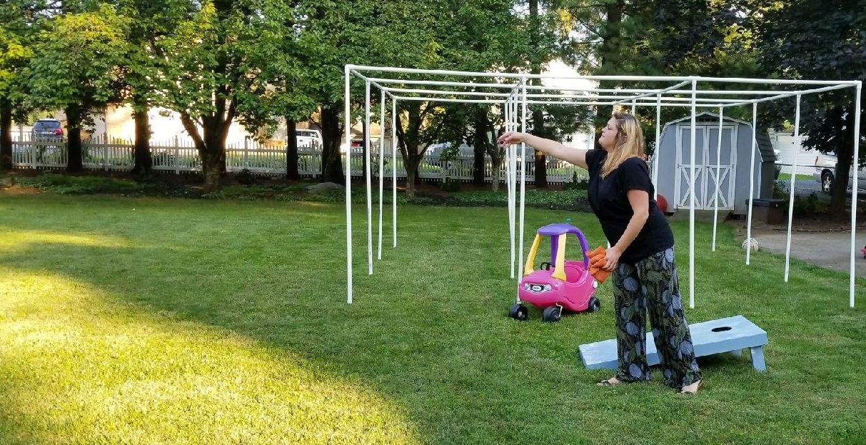 Erica playing cornhole
