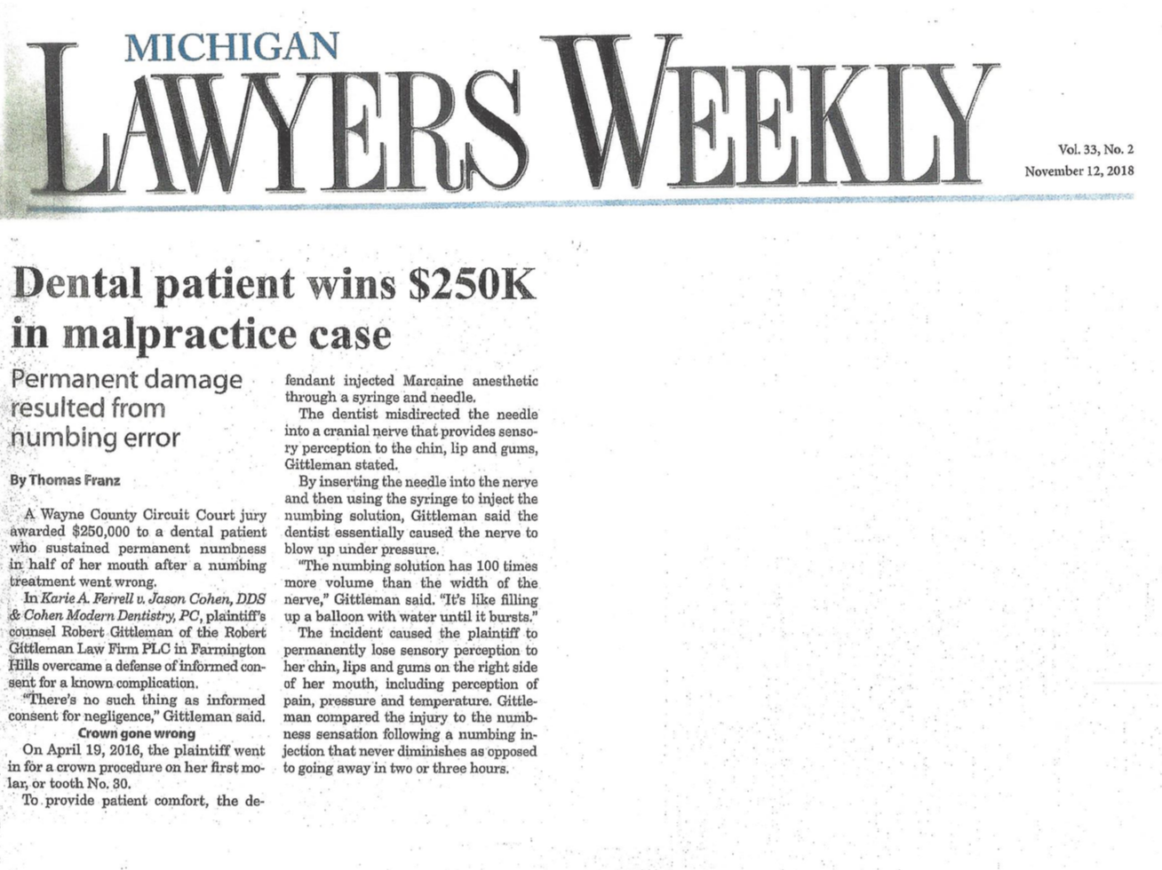 Dental malpractice attorney Robert Gittleman in the news