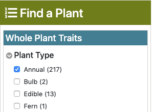 "an image of the ""find a plant"" filters with ""annual"" checked"