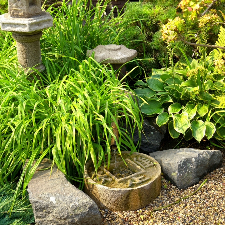 A small Asian garden found along a pathway.