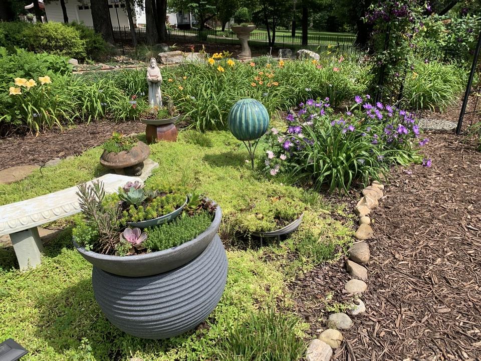 Gazing ball garden
