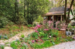 Cottage garden in spring