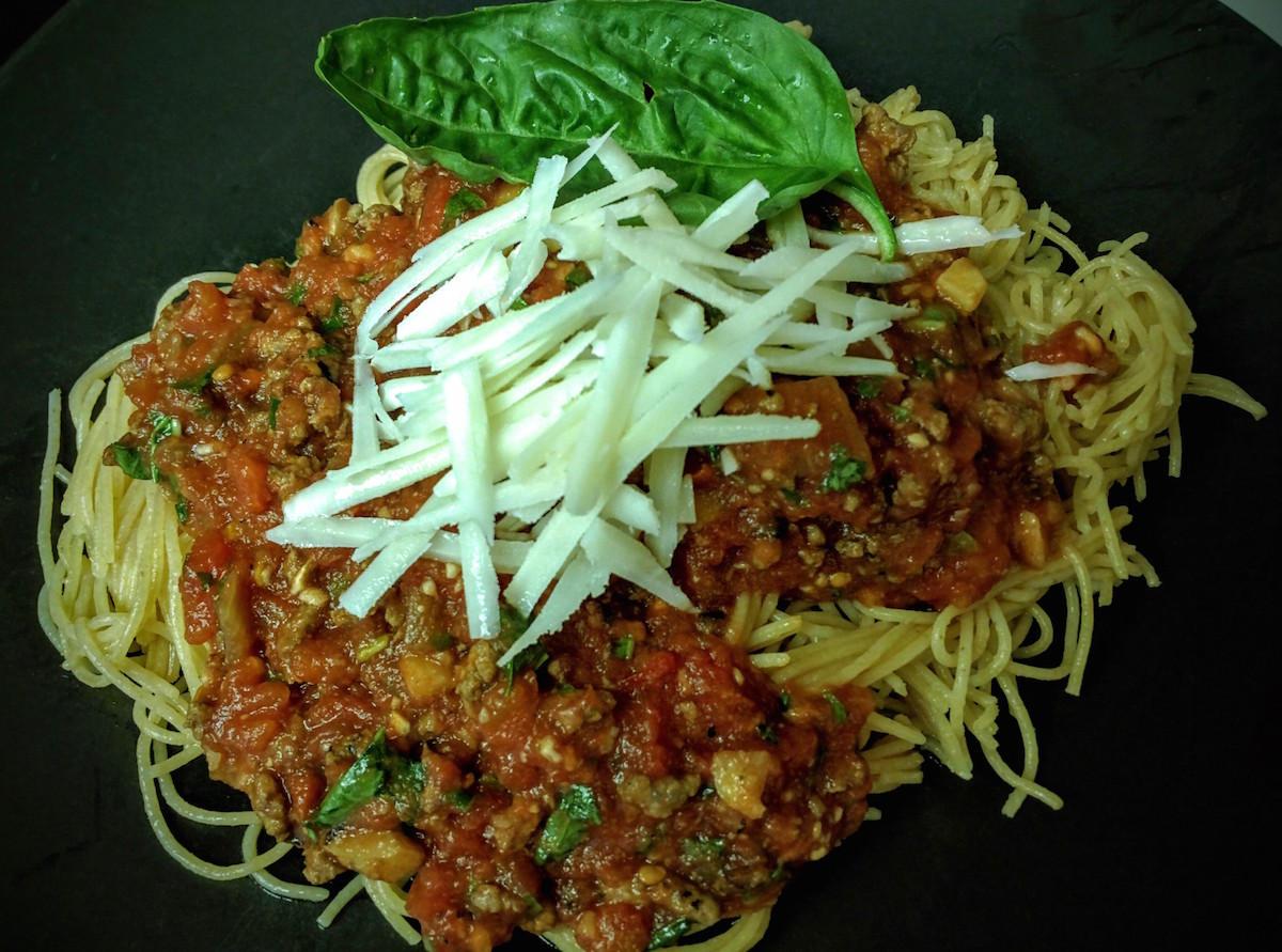 capellini with meat sauce
