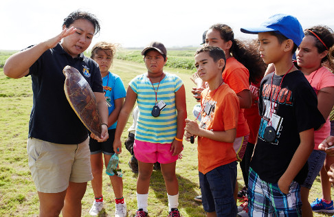 Kids learning about turtles.