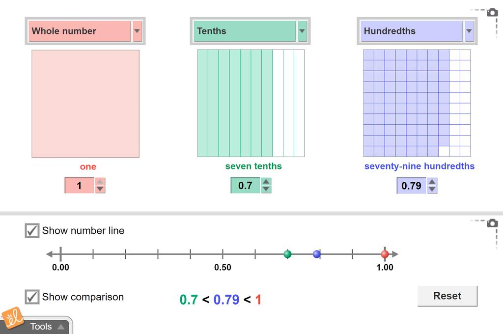 Screenshot of Modeling Decimals (Area and Grid Models) Gizmo