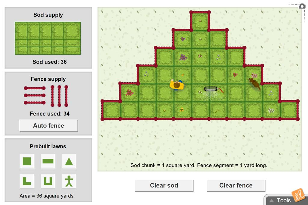 Screenshot of Fido's Flower Bed (Perimeter and Area) Gizmo