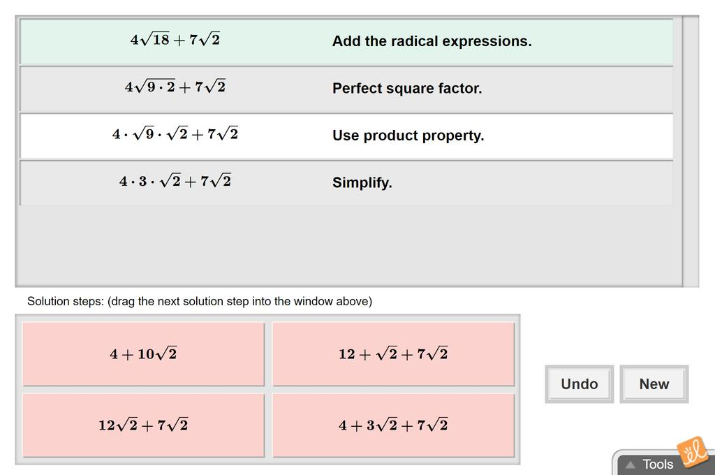 Screenshot of Operations with Radical Expressions Gizmo