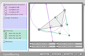 Screenshot of Concurrent Lines, Medians, and Altitudes Gizmo