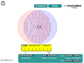 Screenshot of Doppler Effect (2 sources) Gizmo