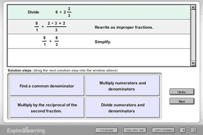 Screenshot of Dividing Mixed Numbers Gizmo