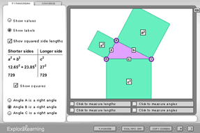 Screenshot of Pythagorean Theorem - Activity A Gizmo